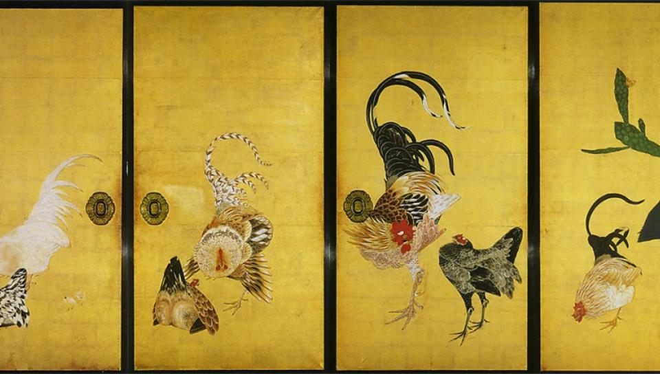 伊藤若冲作《仙人掌群雞圖》。(1716~1800)