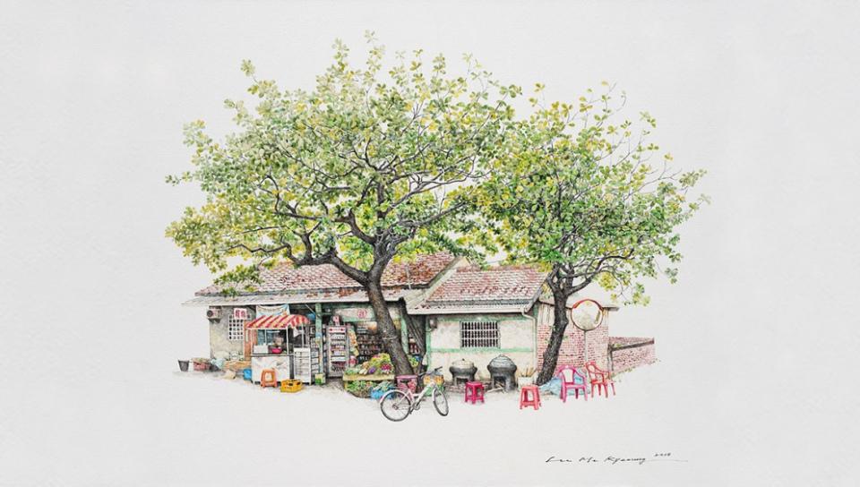 受到日、台、法多國歡迎的韓國畫家李美京,以細膩的畫筆,繪出台灣台南東山鄉吉貝耍的誌成商店