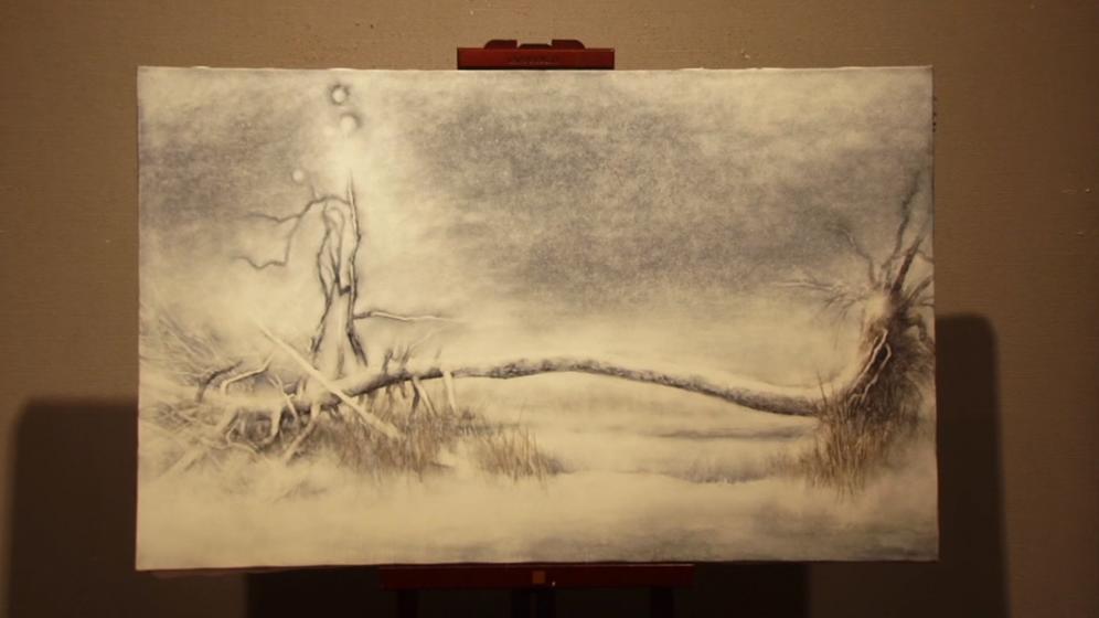 伊勢英子畫下的黑松。截取自Youtube:「いのちのかたち」完成告知