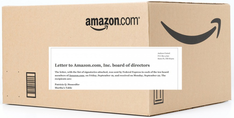 2014年亞馬遜與出版商戰火不熄,曾引起九百多名作家集體簽署公開信抗議。(圖片來源:amzaon, authors united)