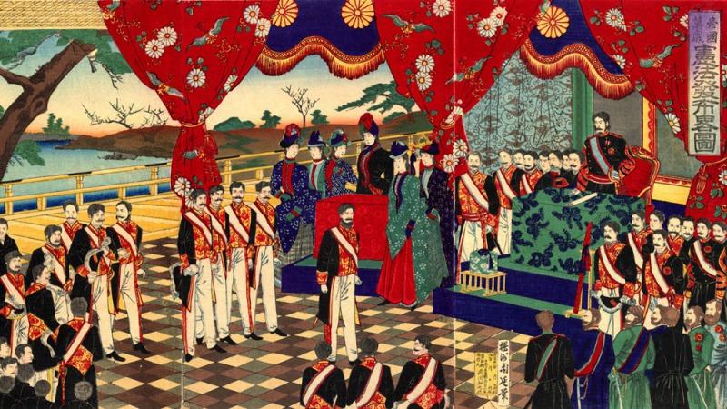 浮世繪「憲法発布略図」(豊原周延繪製,取自wiki)